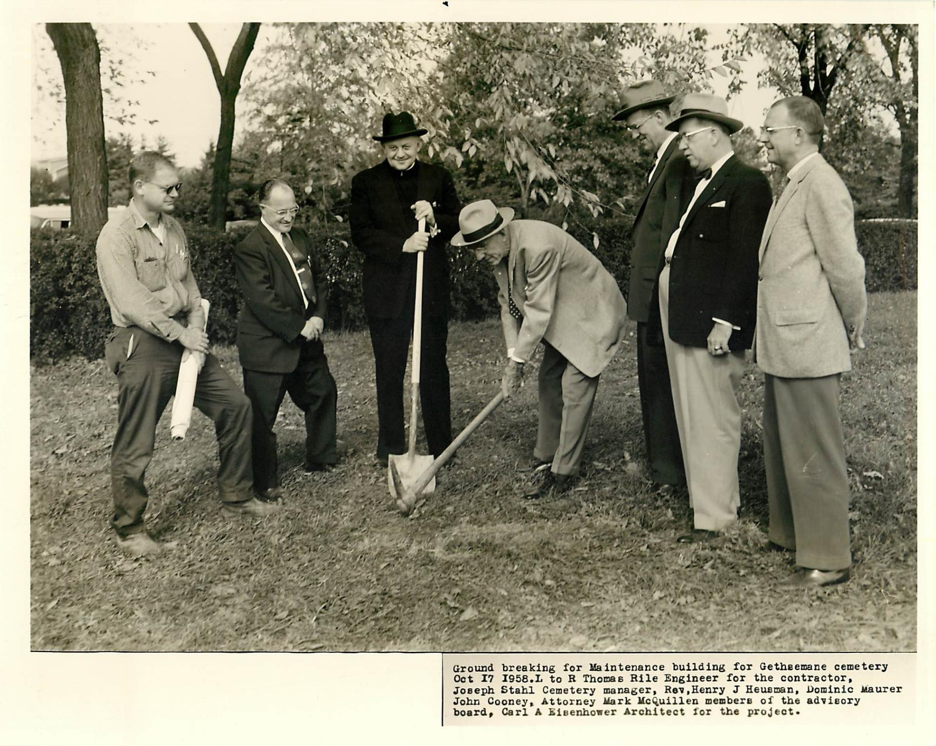 Black and white ground breaking photo from 1958