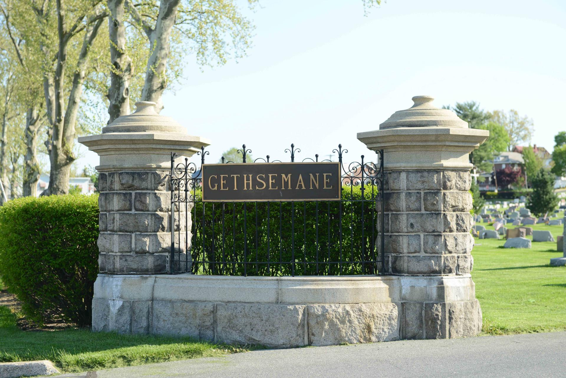 Gethsemane Cemetery entrance pillars with sign